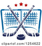 Clipart Of Ice Hockey Sticks And A Puck Over A Goal Royalty Free Vector Illustration by Vector Tradition SM