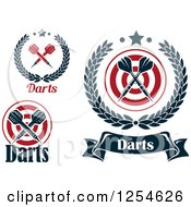 Clipart Of Crossed Darts In Laurel Wreaths With Text Royalty Free Vector Illustration