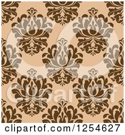 Clipart Of A Seamless Pattern Background Of Brown Floral Damask Royalty Free Vector Illustration