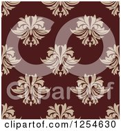 Clipart Of A Seamless Pattern Background Of Tan And Maroon Floral Damask Royalty Free Vector Illustration