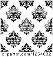 Clipart Of A Seamless Pattern Background Of Black And White Floral Damask Royalty Free Vector Illustration