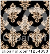 Clipart Of A Seamless Pattern Background Of Tan And Black Floral Damask Royalty Free Vector Illustration