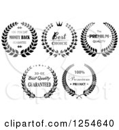 Clipart Of Black And White Guarantee Laurel Wreath Labels Royalty Free Vector Illustration
