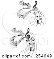 Clipart Of Grayscale Flowing Music Notes 4 Royalty Free Vector Illustration
