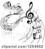 Clipart Of Grayscale Flowing Music Notes 8 Royalty Free Vector Illustration
