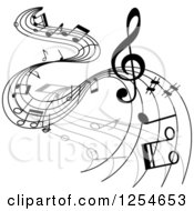 Clipart Of Grayscale Flowing Music Notes 7 Royalty Free Vector Illustration