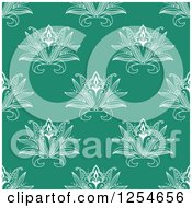 Clipart Of A Seamless Pattern Background Of Lotus Henna Flowers In Green Royalty Free Vector Illustration
