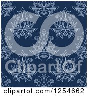 Clipart Of A Seamless Pattern Background Of Lotus Henna Flowers In Blue Royalty Free Vector Illustration