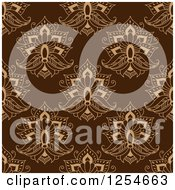 Clipart Of A Seamless Pattern Background Of Lotus Henna Flowers In Brown Royalty Free Vector Illustration