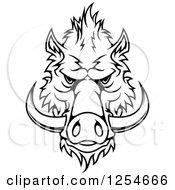 Clipart Of A Black And White Boar Face Royalty Free Vector Illustration