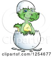 Clipart Of A Cute Green Hatching Dinosaur Royalty Free Vector Illustration