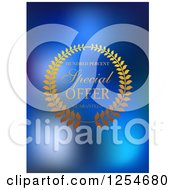 Clipart Of A Special Offer Label With A Laurel Wreath On Blue Royalty Free Vector Illustration
