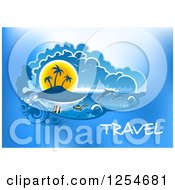 Clipart Of A Tropical Island With Dolphins And Fish With Travel Text Royalty Free Vector Illustration