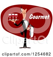Clipart Of A Waiter With Wine And Gourmet Text Royalty Free Vector Illustration by Vector Tradition SM