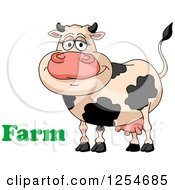 Clipart Of A Happy Dairy Cow With Farm Text Royalty Free Vector Illustration