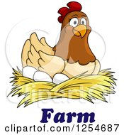 Clipart Of A Happy Hen Nesting On Eggs Over Farm Text Royalty Free Vector Illustration