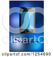 Clipart Of A Smartphone With Text Over Blue Royalty Free Vector Illustration