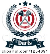 Clipart Of Crossed Darts In A Laurel Wreath Over A Target With Text And A Star Royalty Free Vector Illustration