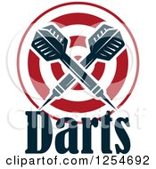 Clipart Of Crossed Darts Over A Target With Text Royalty Free Vector Illustration