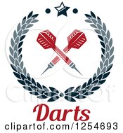Clipart Of Crossed Darts In A Laurel Wreath With Text And A Star Royalty Free Vector Illustration