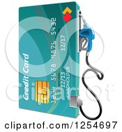 Clipart Of A Credit Card Gas Pump Royalty Free Vector Illustration by Vector Tradition SM