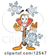 Sink Plunger Mascot Cartoon Character With Three Snowflakes In Winter