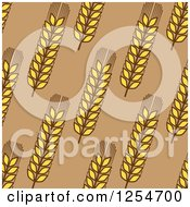Clipart Of A Seamless Pattern Background Of Wheat On Brown Royalty Free Vector Illustration