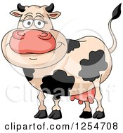 Clipart Of A Happy Dairy Cow Royalty Free Vector Illustration