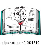 Clipart Of A Happy Open Geometry Book Royalty Free Vector Illustration