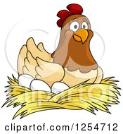 Clipart Of A Happy Hen Nesting On Eggs Royalty Free Vector Illustration