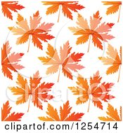 Clipart Of A Seamless Pattern Background Of Orange Autumn Leaves Royalty Free Vector Illustration