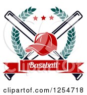 Clipart Of A Red Baseball Cap Over Crossed Bats In A Laurel Wreath With A Banner Royalty Free Vector Illustration