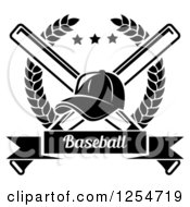 Clipart Of A Black And White Baseball Cap Over Crossed Bats In A Laurel Wreath With A Banner Royalty Free Vector Illustration