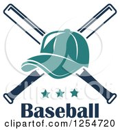 Clipart Of A Turquoise Baseball Cap Over Crossed Bats Over Stars And Text Royalty Free Vector Illustration