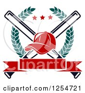 Clipart Of A Red Baseball Cap Over Crossed Bats In A Laurel Wreath With A Blank Banner Royalty Free Vector Illustration