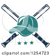Clipart Of A Turquoise Baseball Cap Over Crossed Bats Over Stars Royalty Free Vector Illustration
