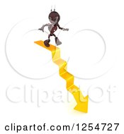 Clipart Of A 3d Red Android Robot Walking Down Arrow Steps Royalty Free Illustration by KJ Pargeter