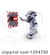 Clipart Of A 3d Robot Pushing A Warning Button Royalty Free Illustration