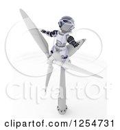 Poster, Art Print Of 3d Robot Sitting On A Wind Turbine