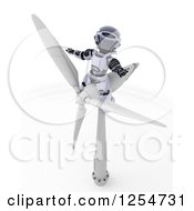 Clipart Of A 3d Robot Sitting On A Wind Turbine Royalty Free Illustration by KJ Pargeter