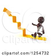 Clipart Of A 3d Red Android Robot Walking Up Arrow Steps Royalty Free Illustration by KJ Pargeter