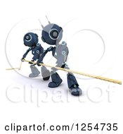 3d Blue Android Robots Engaged In Tug Of War