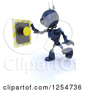 Clipart Of A 3d Blue Android Robot Pushing A Yellow Button Royalty Free Illustration