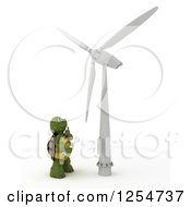 Clipart Of A 3d Tortoise Technician Looking Up At A Wind Turbine Royalty Free Illustration by KJ Pargeter