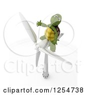 Poster, Art Print Of 3d Tortoise Sitting On A Wind Turbine