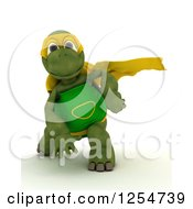 Clipart Of A 3d Super Hero Tortoise Royalty Free Illustration