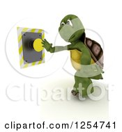 Clipart Of A 3d Tortoise Pushing A Yellow Button Royalty Free Illustration