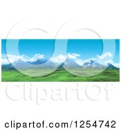 Clipart Of A 3d Widescreen Mountain Range And Green Valley Royalty Free Illustration