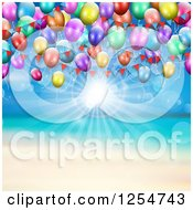Clipart Of A Beach With Sunshine And Party Balloons Royalty Free Vector Illustration by KJ Pargeter