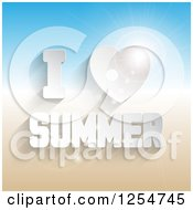Clipart Of 3d White I Heart Summer Text Over Flares And Gradient Royalty Free Vector Illustration